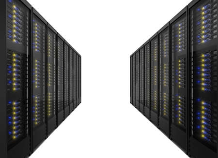 Two lines of server racks. Isolated on white background Stock Photo - 17742831