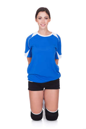 Portrait Of Happy Sporty Woman. Isolated On White Stock Photo - 17738956