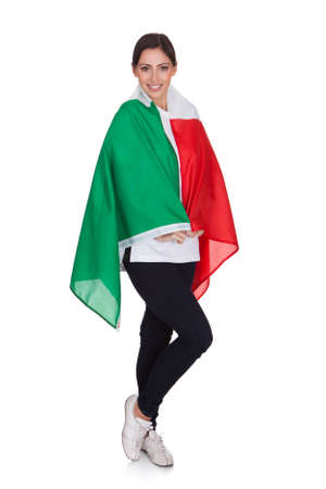 Attractive Woman Shows Flag Of Italy. Isolated On White photo
