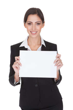 one sheet: Happy Smiling Young Business Woman Holding Blank Placard. Isolated On White Stock Photo