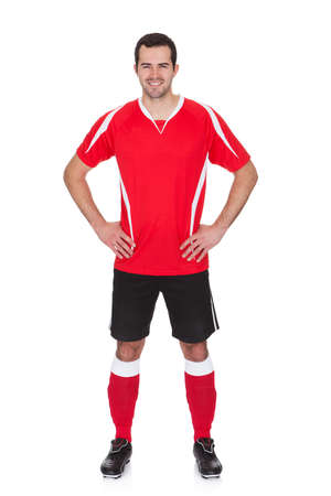 jersey: Portrait of professional soccer player. Isolated on white Stock Photo