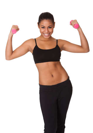 Happy Fitness Woman With Pink Dumbbells. Isolated On White Stock Photo - 17738969