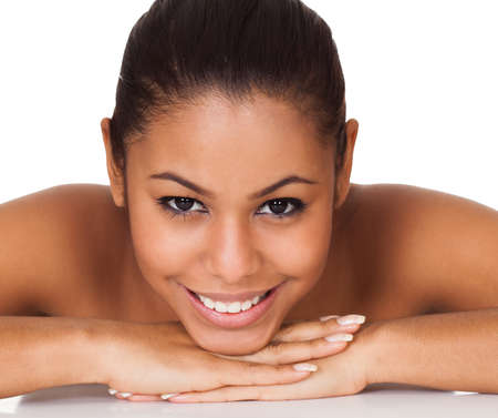 nude black women: Beauty Shot Of Happy Young Woman. Isolated On White Stock Photo