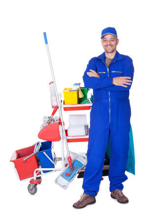 house cleaner: Portrait Of Smiling Cleaner Isolated On White Background