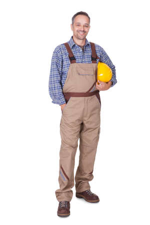 Portrait Of Happy Technician Isolated On White Background Stock Photo - 17825942