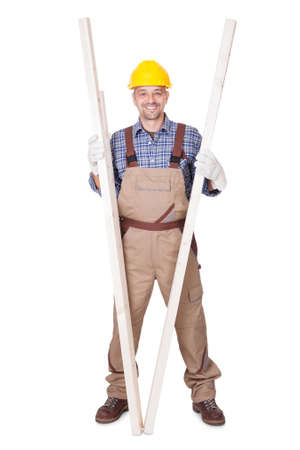 Portrait Of A Construction Worker Isolated On White Background Stock Photo - 17826346