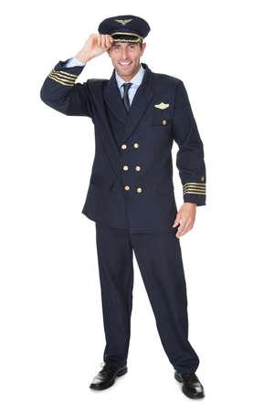hi hat: Portrait of confident pilot. Isolated on white Stock Photo