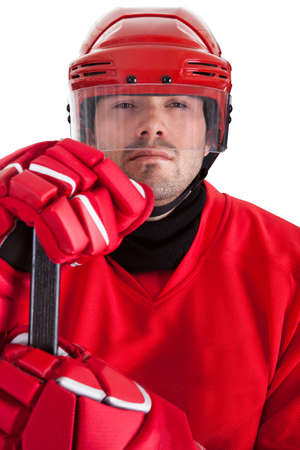 Portrait of professional hockey player. Isolated on white photo
