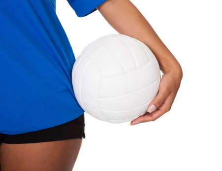 female volleyball: Young Girl Holding Volleyball. Isolated On White