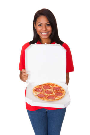 pizza box: Young Woman With A Whole Pizza. Isolated On White