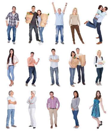 fondo blanco: Feliz fotos de personas casuales. Aislado sobre fondo blanco