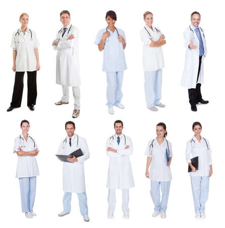 Medical workers, doctors, nurses. Isolated on white Stock Photo - 18065416