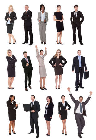 white women: Business people, managers, executives. Isolated on white background