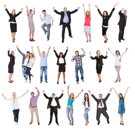 donna entusiasta: Foto di persone entusiaste tifo. Isolato su sfondo bianco