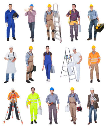 welding worker: Industrial construction workers. Isolated on white background