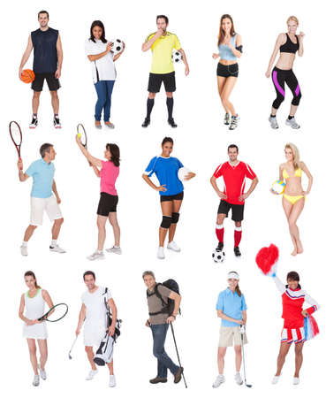 Various sports people. Isolated on white background photo