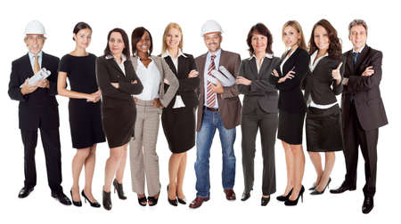 diverse group of people: Group of business people. Isolated on white