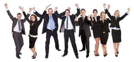 exhilaration: Large group of excited business people. Isolated on white Stock Photo