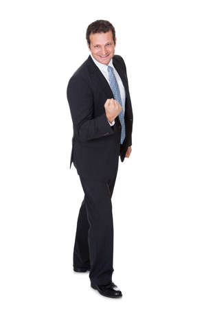 Portrait of excited businessman. Isolated on white background Stock Photo - 18064990