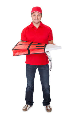 Portrait of pizza delivery guy. Isolated on white background photo