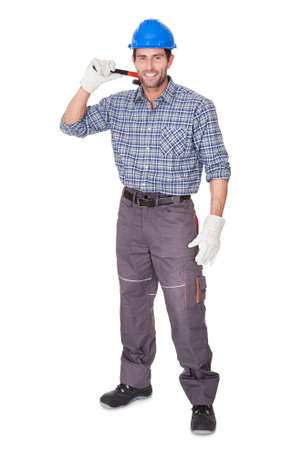 Portrait of happy worker. Isolated on white photo