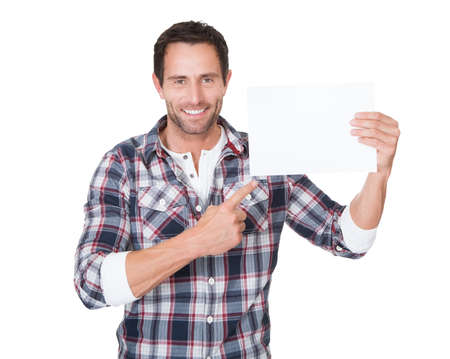blank banner: Happy middle age man presenting empty paper. Isolated on white