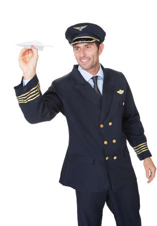 airline hostess: Portrait of confident pilot. Isolated on white Stock Photo