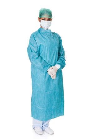 surgical: Cirujano Mujer confidente. Aislado en el fondo blanco