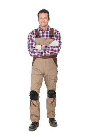 white collars: Portrait of construction worker. Isolated on white background Stock Photo
