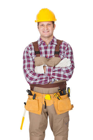 Portrait of construction worker. Isolated on white background photo