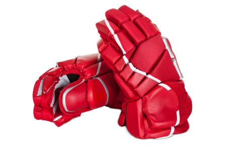Pair of hockey gloves. Isolated on white background photo