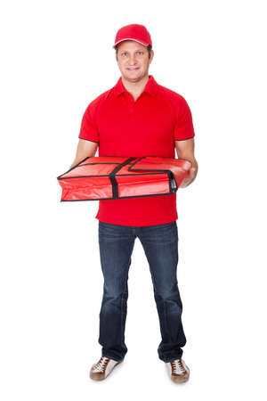 one mid adult man: Portrait of pizza delivery guy. Isolated on white background