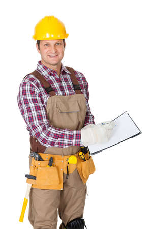 Portrait of construction worker. Isolated on white background Stock Photo