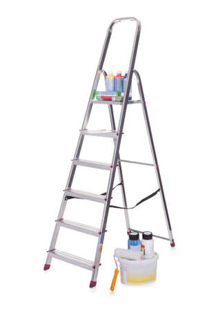 human height: Aluminum ladder and paint tools. Isolated on white Stock Photo