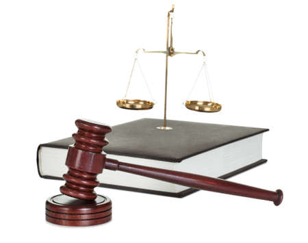 enforcement: Judge gavel and law book. Isolated on white Stock Photo