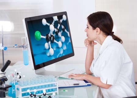 Scienziato femminile Guardando sullo schermo del computer In Laboratorio Archivio Fotografico
