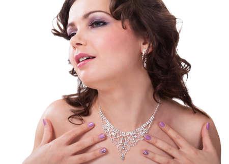 diamond necklace: Close-up Of Young Woman Wearing Beautiful Diamond Necklace Stock Photo