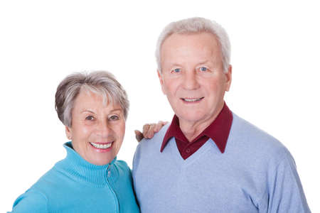 Portrait Of Happy Senior Couple Isolated Over White Background Stock Photo - 18497219