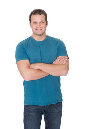 edad media: Retrato de un hombre en traje casual. Aislado sobre fondo blanco
