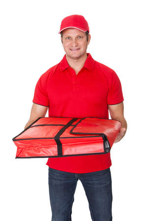 delivery man: Portrait of pizza delivery guy. Isolated on white background