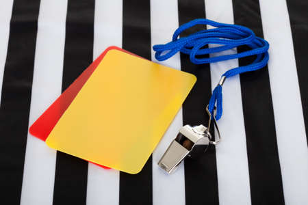 Soccer ball, whistle and cards. Isolated on white Stock Photo - 18461909