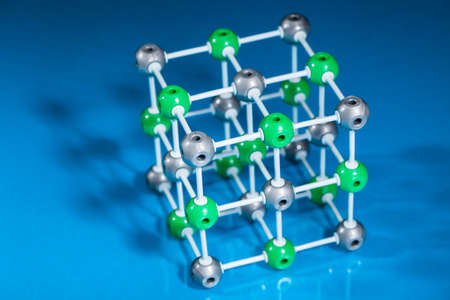 preservative: Model of molecular structure on blue reflective background Stock Photo