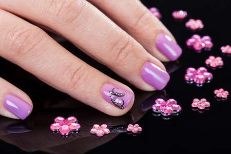 Close-up Of Beautiful Manicured Fingernails And Rhinestones Stock Photo - 18461897