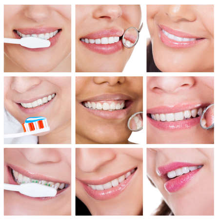 dentition: Collage of smiling woman cleaning her teeth. Isolated on white Stock Photo
