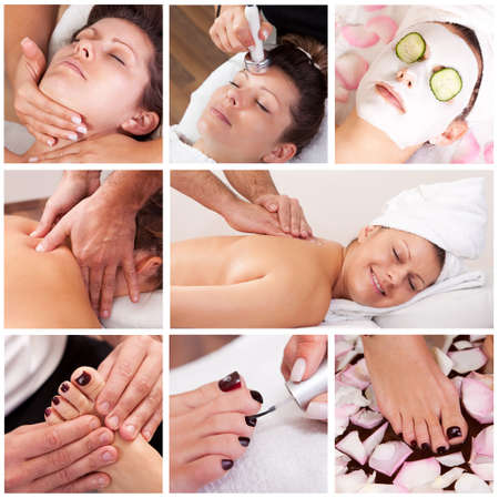 spa collage: Collection of spa images from spa salon Stock Photo