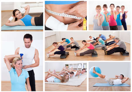 Collage of various fitness images with people exercising photo