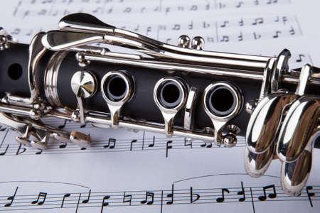 flauta: Close-up Foto De Clarinete y nota musical Foto de archivo