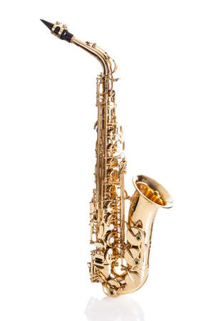 fanfare: Close-up Of Trumpet Isolated Over White Background Stock Photo