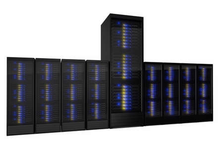 Unique server solution out of many. Isolated on white background photo