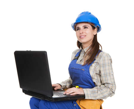 qualified worker: Female Worker Working On Laptop Over White Background Stock Photo